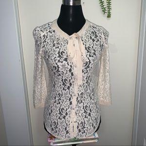 Aritzia Babaton Ivory-Off white Lace TieNeckBlouse